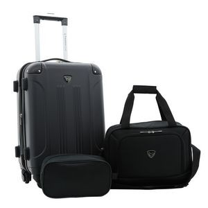 3pc Hardside Rolling Carry-On w/Matching Tote & Shaving Kit (Spinner Wheels)